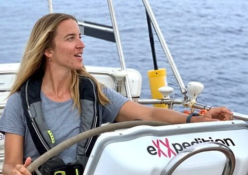Image of Kristine Berg on board eXXpedition