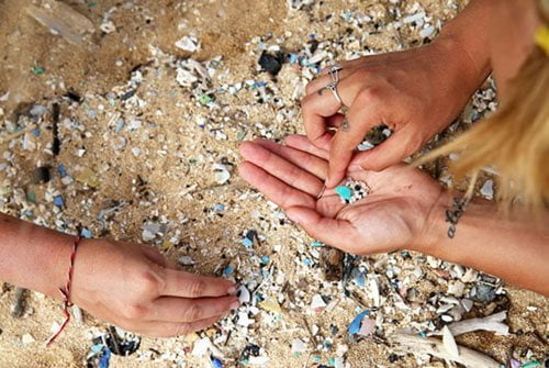 Image of Kristine collecting marine plastic samples