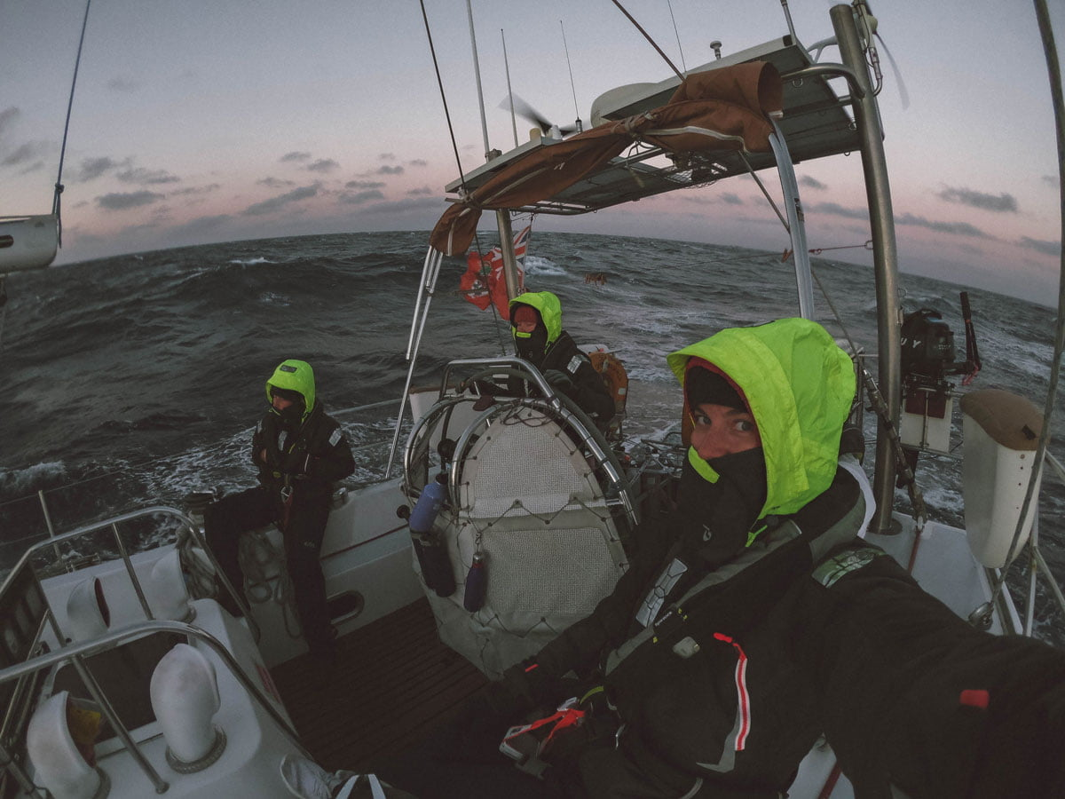 Image of sailing in stormy conditions